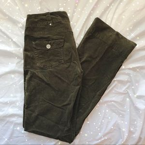 flare bootcut low rise corduroy olive green pants